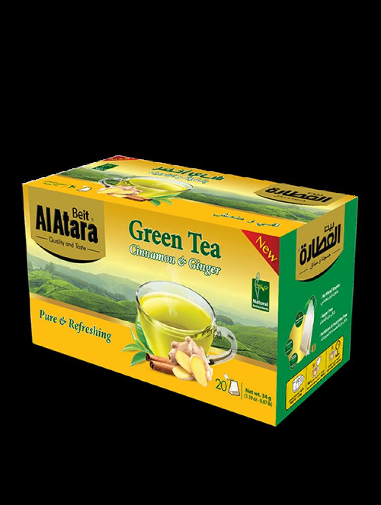 شاي أخضر بالقرفة والزنجبيل
